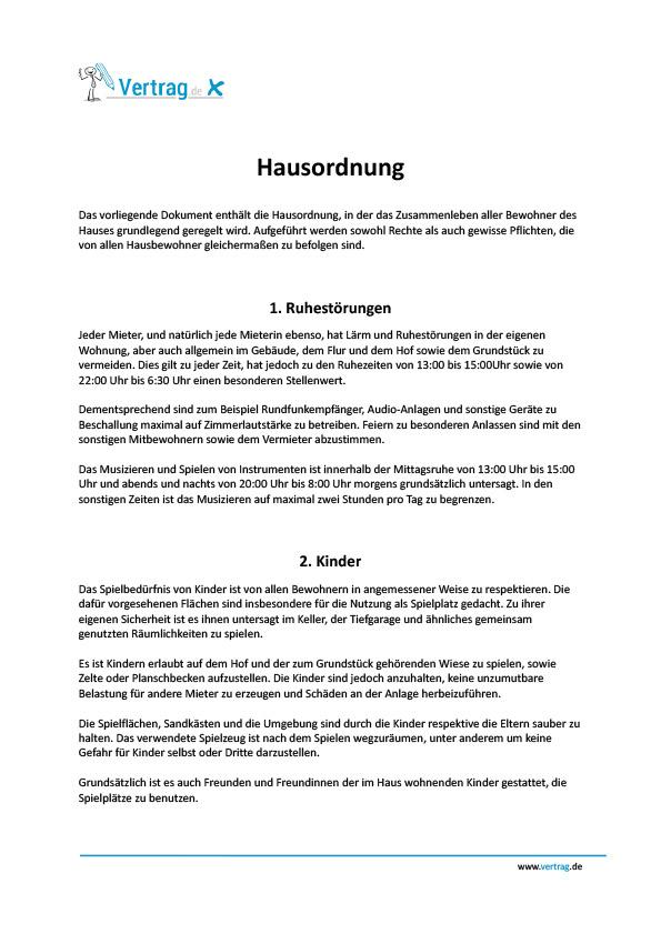 Hausordnung › Mietvertrag Muster
