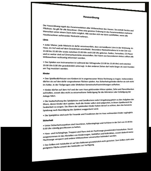 Hausordnung Mietvertrag Muster